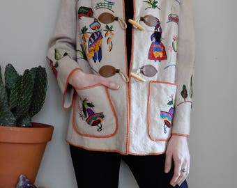 Vintage Mexican embroidered wool jacket • Mexico • Embroidery • Folk • Ethnic • Colourful • Nature • Cacti • Flowers • Handmade • Fun • Cute