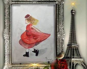 Girl/greeting cards / greeting Valentine-Valentine's day/mother's day / birthday/art/painting/picture/by rosa art/Illustration/original/2018