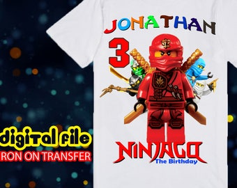 Iron On Transfer Ninjago Birthday Shirt, Ninjago Iron On Transfer, Ninjago Birthday Boy Iron On Transfer, Ninjago Personalize