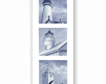 Lighthouse Tryptic I, Giclee Watercolor Print of Nautical Seascape