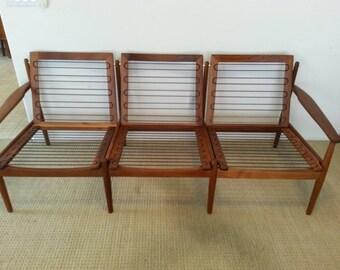 Grete Jalk danish teak sofa for Glostrup Mobelfabrik
