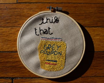 Grey Poupon embroidery