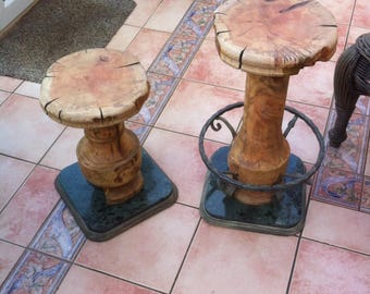 Pair of Yew stools with marble bases