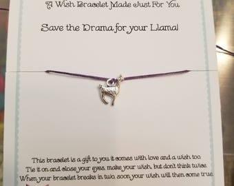 Save the Drama For your Llama Wish Bracelet!!  Handmade!  Customization Available!