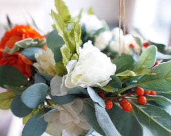 Poppy - Mobile, Baby Mobile, Flower Chandelier, Floral Wreath, Nursery, Decor, Baby Girl