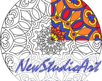 Printable Mandala Coloring Page-Art Therapy-Adult Coloring Page-Antistress-Coloring for Relaxation-Instant Digital Download - MANDALA 005