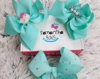 3pc light blue bow