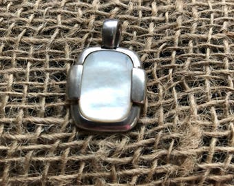 Vintage Sterling Silver and Mother of Pearl Pendant