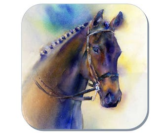 Good Looking - Equine Coaster, Horse Coaster (Corked Back). From an original Sheila Gill Watercolour Painting