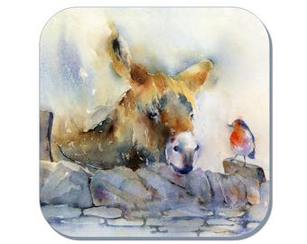 Bob & Rob - Donkey and Robin Coaster (Corked Back). From an original Sheila Gill Watercolour Painting