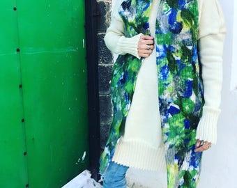 felt  jacket, felt , wool dress, knit, knit dress, Italy yarn, wool yarn, 100 % wool, handmade, green dress, fashion dress, unique fashion