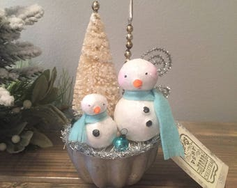 Vintage Inspired Christmas Decoration- Paper Clay Snowman- Bottle Brush Tree