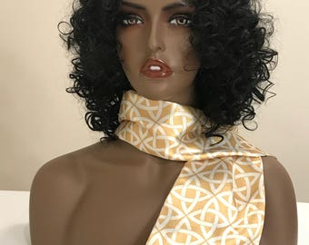 Gold and white versatile print satin scarf for women