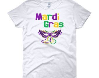 Mardi Gras Mask Beads Women's short sleeve t-shirt | Party Event Tee And T-Shirt.