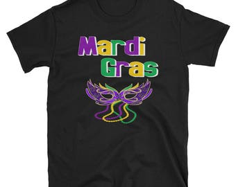 Mardi Gras Mask Beads Short-Sleeve Unisex T-Shirt | Party Event Tee And T-Shirt.