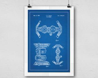 Star Wars Tie Bomber Blueprint Graphic Artwork Home Decor Poster
