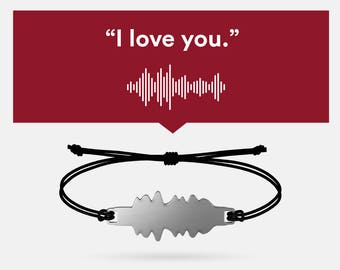 Voice bracelet (custom with your voice sound waves in steel) | Love, gift ideas, 5 senses gift, couple, anniversary, gift for men women