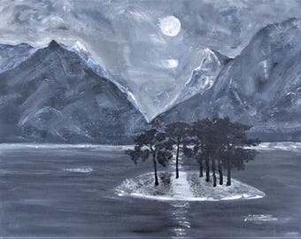 Night time mountain lake on canvas with acrylic