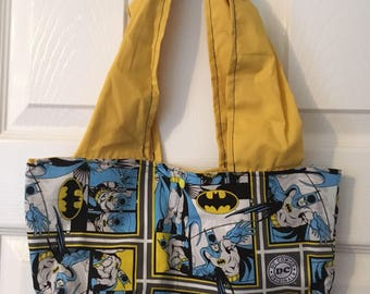 Handmade superhero fabric over the shoulder tote bag for ladies and teens