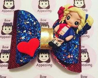 Red and blue double layer glitter hair bow with harley clay figure, glitter hair bow, geek hair bow