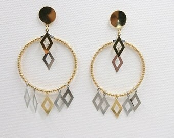 Trilogy, geometric earrings. Made in France / unique pieces / number 1