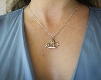 Sterling Silver Sailboat Pendant & Necklace