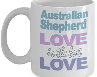 Australian Shepherd Mug - Shepherd Gifts - Australian Shepherds - Shepherd Lover Gift - Black White Ceramic Coffee Tea Cup 11 oz 15 oz