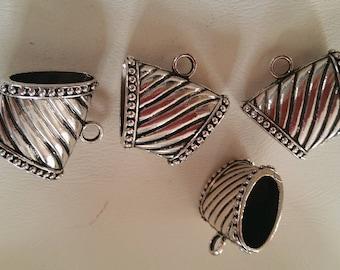 3 silver metal scarf bails