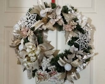 Holiday Wreath Door Decor Evergreen Base Cream and Gold