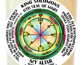 King Solomons Sixth Seal of Mars for All-encompassing Protection Scented Soy 8 oz Glass Candle