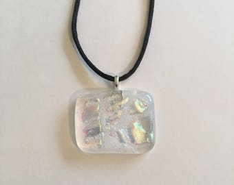 Clear and fire glass fused glass necklace