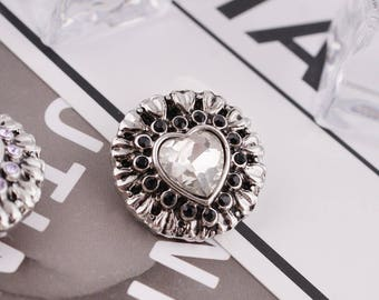 20mm Snap, Heart with gemstone