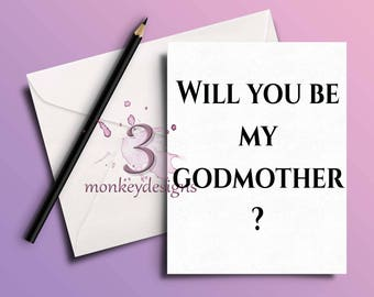 Will you be my GodFather, GodMother, God Parents, A5 card