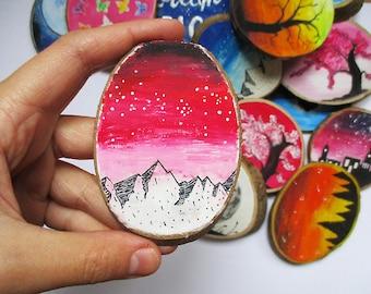 Pink Galaxy Wood Magnet, Wooden Magnets, Fridge Magnet, Painted Magnet, Hand Painted Magnet, Hand Painted Wood Magnet, Gift, Wood Nature Art