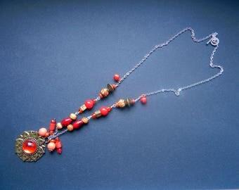 Lotus Flower Necklace, Lotus flower pendant, Bohemian Necklace, Boho Necklace, Eclectic Necklace, Red and orange necklace
