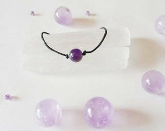 Amethyst Crystal Ball Choker Necklace