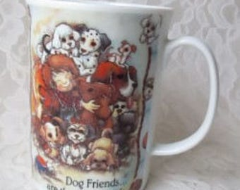 Ceramic Cup Dog Friends Are The Best Friends by Jody Bergsma 1997 Friendship Mug