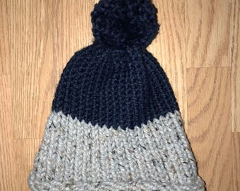 Two Tone Gray and Blue Knit Hat