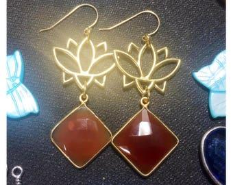 Carnelian lotus earrings