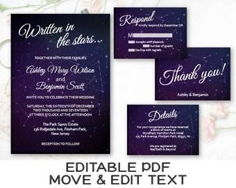 Constellation wedding invitation printable Celestial wedding invite template Starry night wedding invitation set Dark blue wedding - DIGITAL