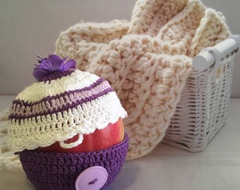 Novelty Crochet CUPCAKE Apple or Orange Cover Back to School