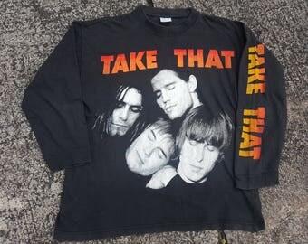 Vintage Take That Longsleeve Shirt Double Sided Tour Promo Print Shirt Rare 90s