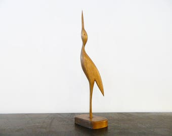 1960s Wood crane, crane, vintage crane, 60s decoration, wooden crane