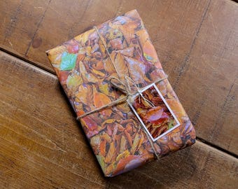 Autumn Beech Leaves Eco Wrapping Paper and Gift Tag