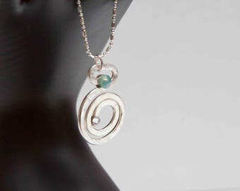 Silver plated hammered pendant