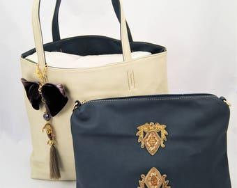 Large Cream Tote with inner Navy Handbag Embellished with Vintage Indian Appliques, Velvet and Doll Tassel