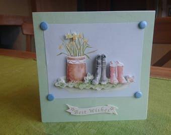 Handmade Greetings Card, Best Wishes, Garden, Flowers