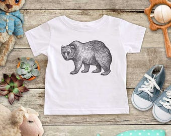 Bear Illustration graphic Zoo animal wild kingdom Shirt - Baby bodysuit Toddler youth Shirt cute birthday baby shower gift