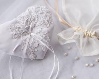 Romantic Satin Ring Bearer Pillow/ Ring pillow white color/Wedding pillow/
