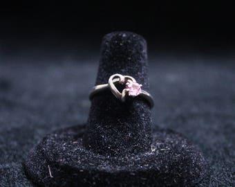 Pink Tourmaline Heart Ring 925